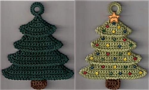 Crochet Christmas Tree.Christmas Tree Potholder Pattern By Priscilla Hewitt