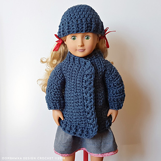 18 Inch Doll Clothes - Coat and Hat for Dolly - Free Pattern by Oombawka Design Crochet