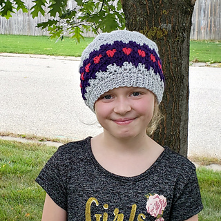 Anahata Hat Pattern. Free Pattern from Oombawka Design Crochet. Available in sizes preemie to adult large. Image: Child (6-10 years)
