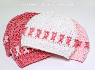 Awareness Ribbon Hat Pattern in 4 sizes with full video tutorial. Free Pattern from Oombawka Design Crochet.