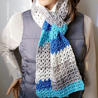 My Basic V-Stitch Scarf Pattern. Free Crochet Pattern from Rhondda Mol of Oombawka Design. Video tutorial is available.