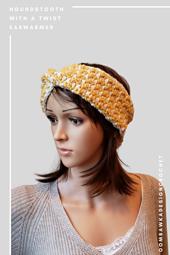 Houndstooth with a Twist Earwarmer Pattern. Kathleen Headband. Free Pattern from Rhondda @oombawkadesigncrochet