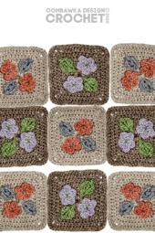 Pretty Posies Afghan Square Pattern. Designed by Rhondda Mol. Oombawka Design Crochet.