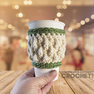 Alpine Stitch Cup Sleeve Pattern by Rhondda Mol at Oombawka Design Crochet. Free Pattern.