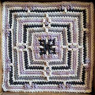 Guiding Light Afghan Square Pattern, designed by Rhondda Mol.