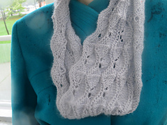 [Image Description: someone wearing a grey knit lace cowl in a scalloped lace pattern.]