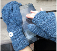 Convertible mittens blue open small best fit