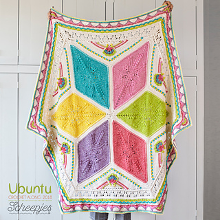 Ubuntu blanket - Medium, made with Scheepjes Stone Washed.