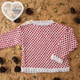 Knitted 'Tis The Season Sweater by Claire Montgomerie, featured in Pretty Little Things, Issue 10 FESTIVE