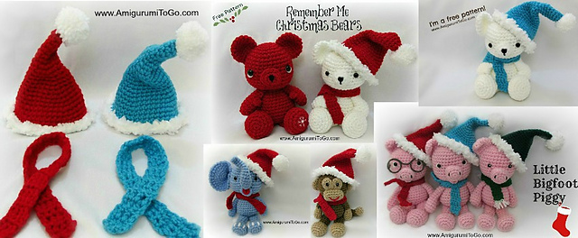 Christmas Hat and Scarf Pattern For Bears and LBF Animals | 264x640