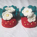 Strawberry Baby Booties, 4 Sizes pattern