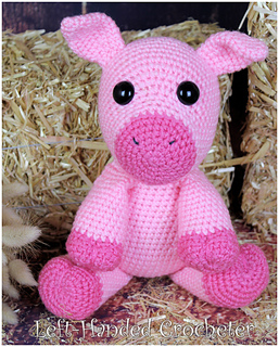 """Knitting Pattern For  Toy Animal Pig 9/"""" In Height"""