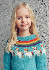 Unicorn Icelandic sweater / Einhyrningur lopapeysa.  Note: The neckline pictured is loose as per my daughter's request, but the pattern creates a standard lopapeysa fit.