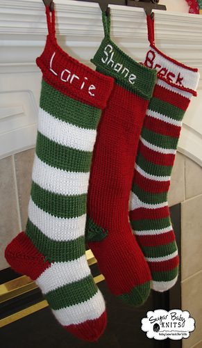 Knitted Christmas Stockings.Knit Christmas Stocking Pattern By Sugar Baby Knits