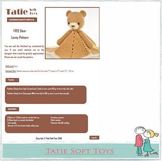 Teddy Bear Lovey pattern by Peach. Unicorn | Crochet bear, Lovey ... | 319x320