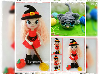 Amigurumi witch cat pattern (free crochet pattern | Halloween ... | 240x320