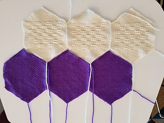 Sew the lace row to the liner row.