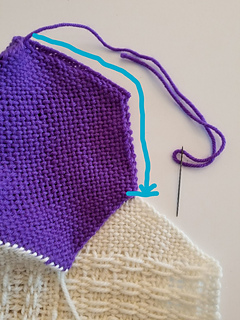 For the last tip, sew from the tip down two sides as shown.