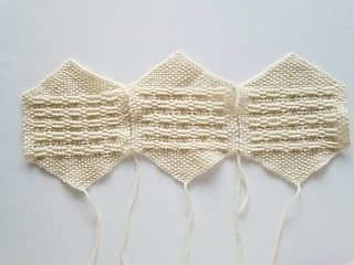 Sew lace hexagons to form a row.