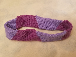 """Sample headband made of six 4"""" hexagons, assembled 'on the bias'."""