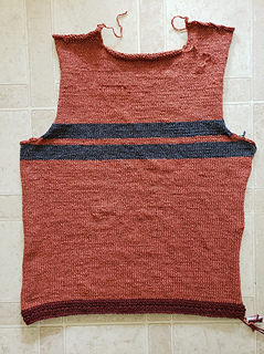 """Back done, showing intended """"striping"""" to accommodate yarn/color shortage ..."""