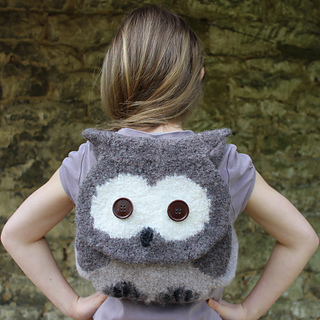easy knit pattern -INSTANT DOWNLOAD - Orla Owl knitted /& felted owl bag Knitting Pattern UK washing machine felted child backpack