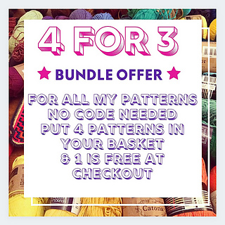my standard bundle offer, if you buy 3 patterns at a time, you get 1 extra for free. valid on all my patterns!