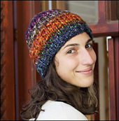 Slip stitches add a bit of texture to this hat as the beauty of the hand dyed wool flows from the skein.