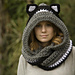 Hooded Scarf with Cat Ears, Cat Scoodie pattern