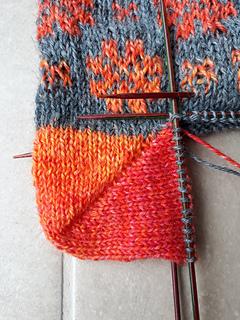 Socke 1, Farbverlauf in der Ferse