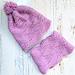 Sideways Wavy Knit Hat & Cowl Set pattern