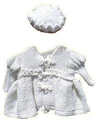 Nostalgic Baby Coat (front) & Ruffled Tam - Knitting Pattern