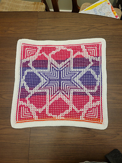 Mosaic crochet, with envelope border. White used as Main Color (MC)