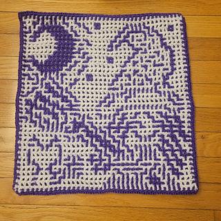 Wrong side of interlocking crochet square