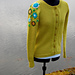Yellow cardigan with embroidery pattern