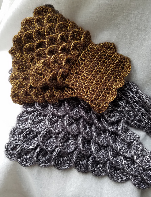 bronze gloves and silver gorget crochet to resemble scale mail