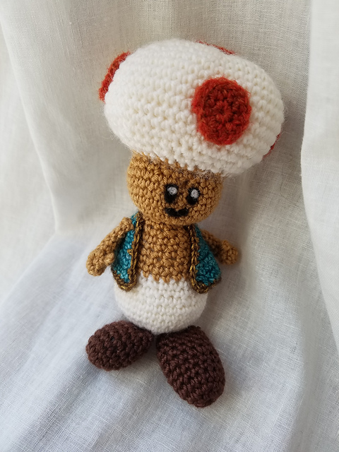 A crochet Toad from the Mario games