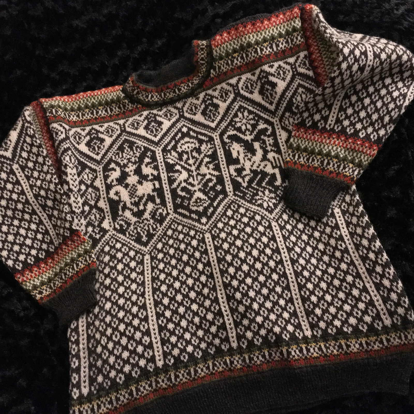 A mostly black and white Norwegian-style knit sweater, with vertical panels of diamonds, topped by pictures of horse and rider and thistles.  The cuffs, shoulders, and collar have bands of color.