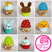 Easter cupcakes with swirl frosting pattern