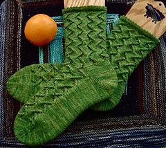 Green Meanie Socks: oranged (C365: 60)