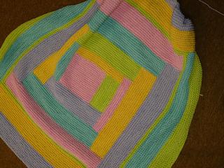 Four Colour Log Cabin Baby Blanket