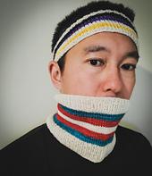 Headband in Nonbinary color scheme, and Neck Gaiter in Transgender color scheme