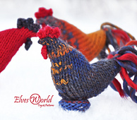 Rooster knitted toy