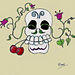 Skull with Vines and Cherries Chart pattern