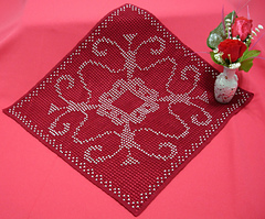 Red Square Beaded Filet Doily