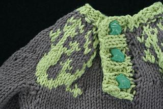 Lizard Swirl Baby Sweater - button detail