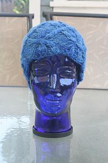 Oak Bark Cabled Hat in Fiber Fiend Bulky Wool, Seas Colorway