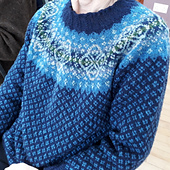 Test knitter Wilma chose beautiful Spindrift colours for her jumper.