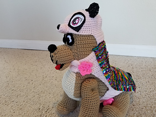 The Great Dane Puppy Dog has a separate video tutorial and written pattern. The crochet panda outfit is included in this written pattern.