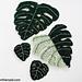 Monstera Leaves Applique Motifs pattern